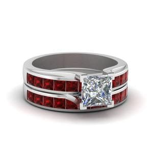 Channel Set Ruby Wedding Set