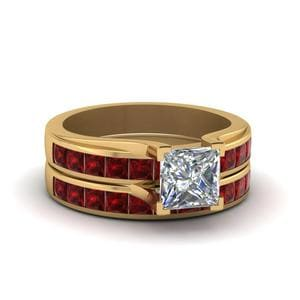 Princess Cut Channel Wedding Set With Ruby In 18K Yellow Gold