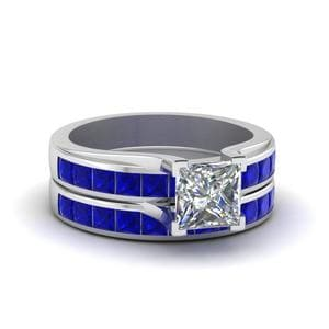 Princess Cut Channel Wedding Set With Sapphire In 14K White Gold