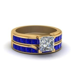 Princess Cut Channel Wedding Set With Sapphire In 14K Yellow Gold