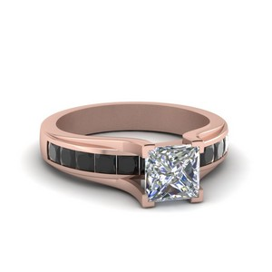 Princess Cut Channel Set Engagement Ring With Black Diamond In 14K Rose Gold