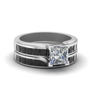 Princess Cut Channel Wedding Set With Black Diamond In 950 Platinum