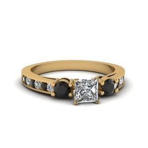 Princess Cut Channel Three Stone Ring With Black Diamond In 18K Yellow Gold