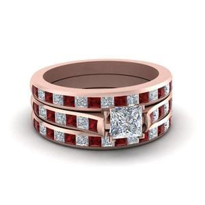 Trio Ruby Wedding Ring Set