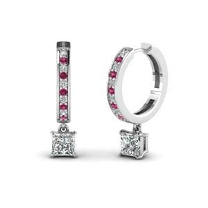 White Gold Pink Sapphire Earring