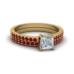 Princess Cut Ruby Bridal Set