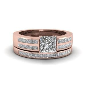 Princess Cut Diamond Accent Channel Set Wedding Ring Set In 14K Rose Gold