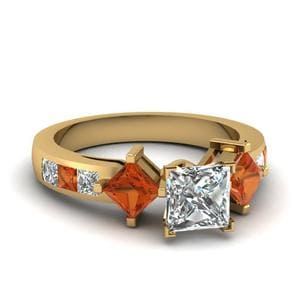 Princess Cut Diamond Adjoined Shank Sidestone Ring With Orange Sapphire In 14K Yellow Gold