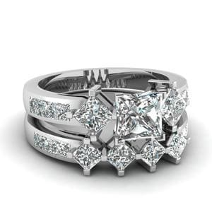 Princess Cut Diamond Adjoined Shank Wedding Set In 14K White Gold
