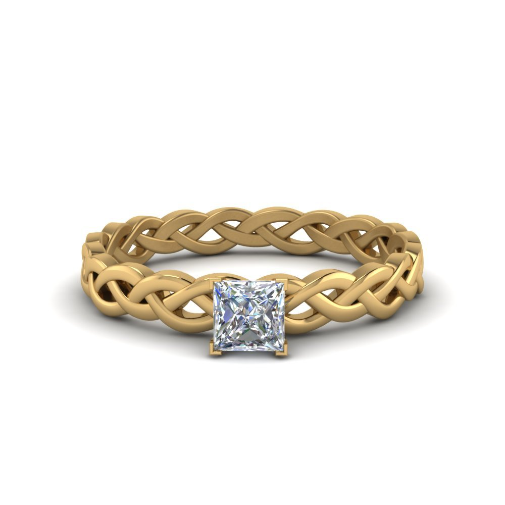 Princess Cut Braided Solitaire Ring