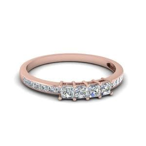 Princess Cut Diamond Channel Set Wedding Anniversary Band In 14K Rose Gold