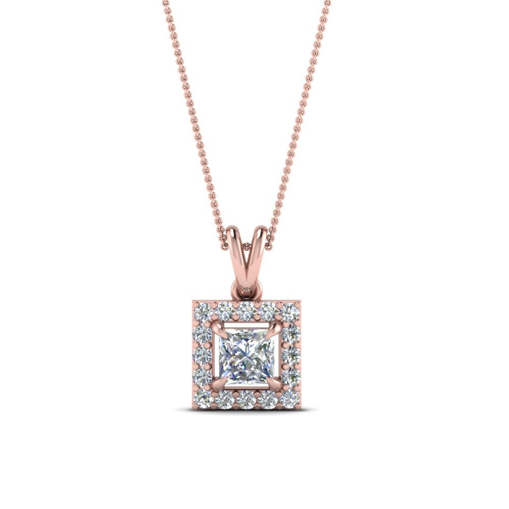 Halo Princess Cut Diamond Pendant In 14K Rose Gold