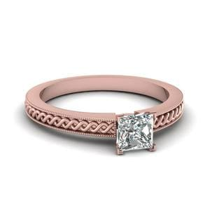 Princess Cut Petite Milgrain Solitaire Engagement Ring In 14K Rose Gold