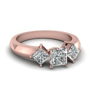 Kite Set 3 Stone Princess Cut Engagement Ring In 14K Rose Gold