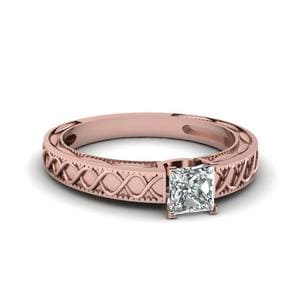 Carved Infinity Princess Cut Ring