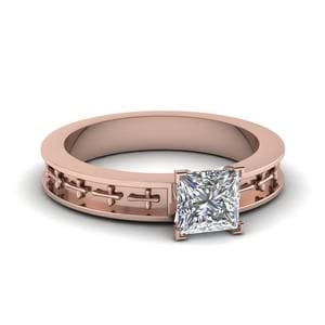 Cross Engraved Solitaire Ring
