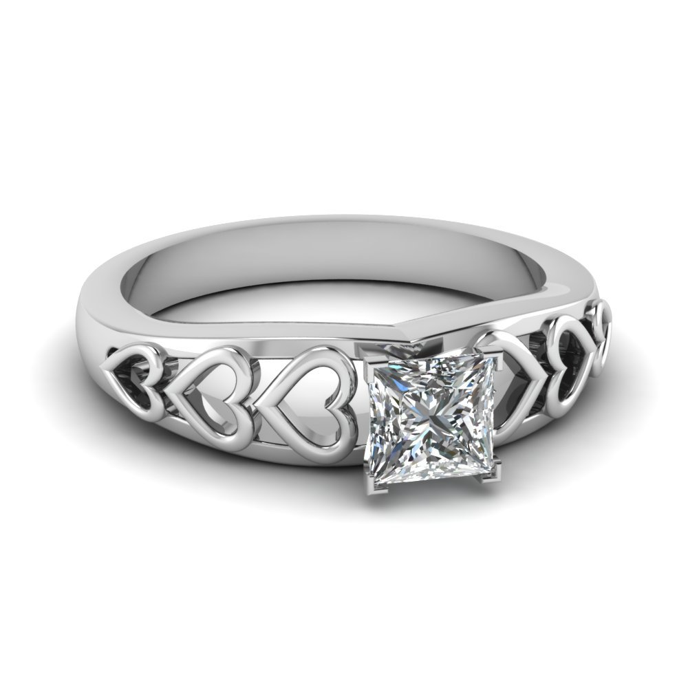 Princess cut Solitaire Filigree Rings
