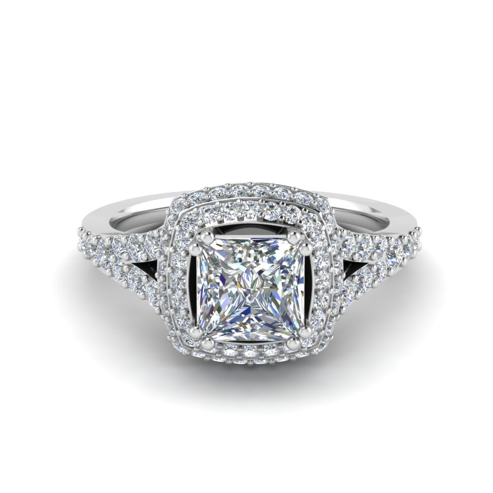 Princess Cut French Pave Double Halo Diamond Engagement Ring In 14K ...