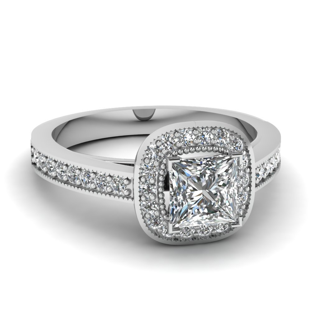 Princess Cut Halo Pave 3/4 Ct. Ring