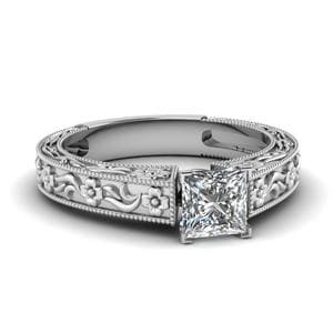 Princess Cut Diamond Vintage Solitaire Ring In 14K White Gold
