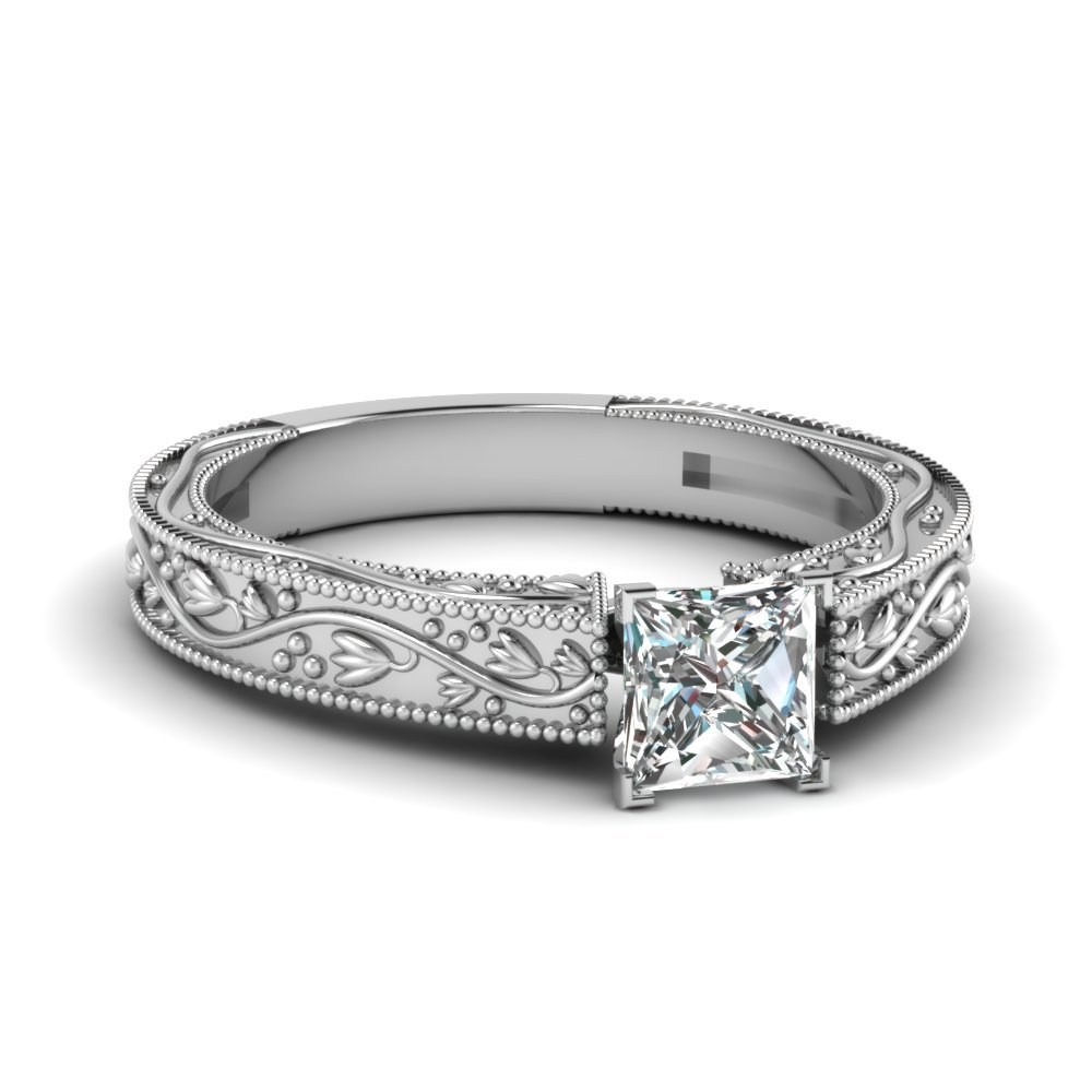 Floral Engraved Princess Cut Diamond Solitaire Engagement Ring In 14K White Gold