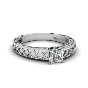 Carved Infinity Princess Cut Solitaire Engagement Ring In 14K White Gold