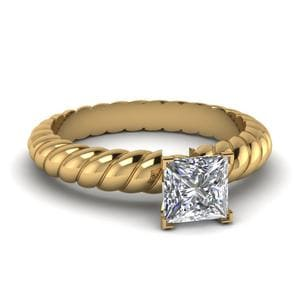 Princess Cut Rope Solitaire Engagement Ring In 14K Yellow Gold