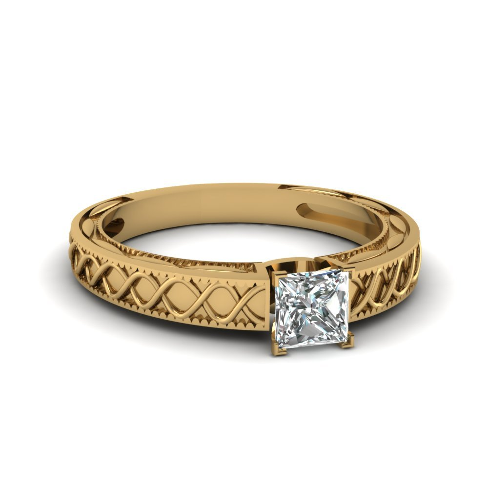 Princess Cut Diamond Engagement Ring In 14K Yellow Gold