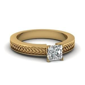 Weaved Design Princess Cut Solitaire Engagement Ring In 14K Yellow Gold