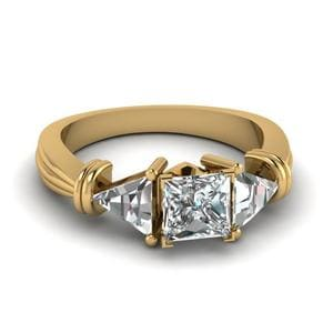 Trillion 3 Stone Princess Cut Ring