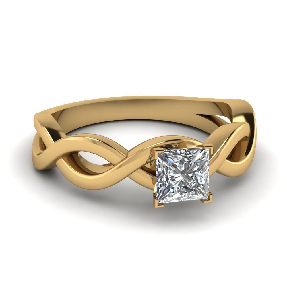 Infinity Princess Cut Diamond Solitaire Engagement Ring In 18K Yellow Gold