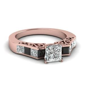 Channel Princess Cut Vintage Engagement Ring With Black Diamond In 18K Rose Gold