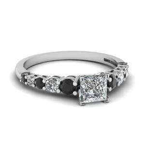 Graduated Princess Cut Ring With Black Diamond In 950 Platinum