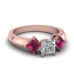 Kite Set 3 Stone Princess Cut Engagement Ring With Pink Sapphire In 14K Rose Gold