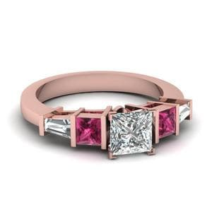 Princess Cut Art Deco Bar Diamond Engagement Ring With Pink Sapphire In 14K Rose Gold