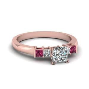 Princess Cut Basket Prong Diamond Ring With Pink Sapphire In 14K Rose Gold