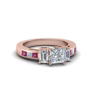 Channel Set 3 Stone Engagement Ring