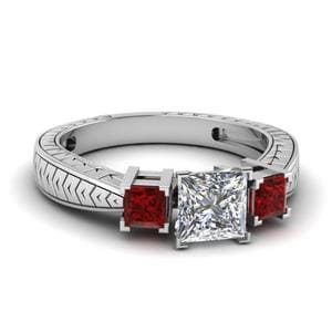 Princess Cut Vintage 3 Stone Diamond Ring With Ruby In 14K White Gold