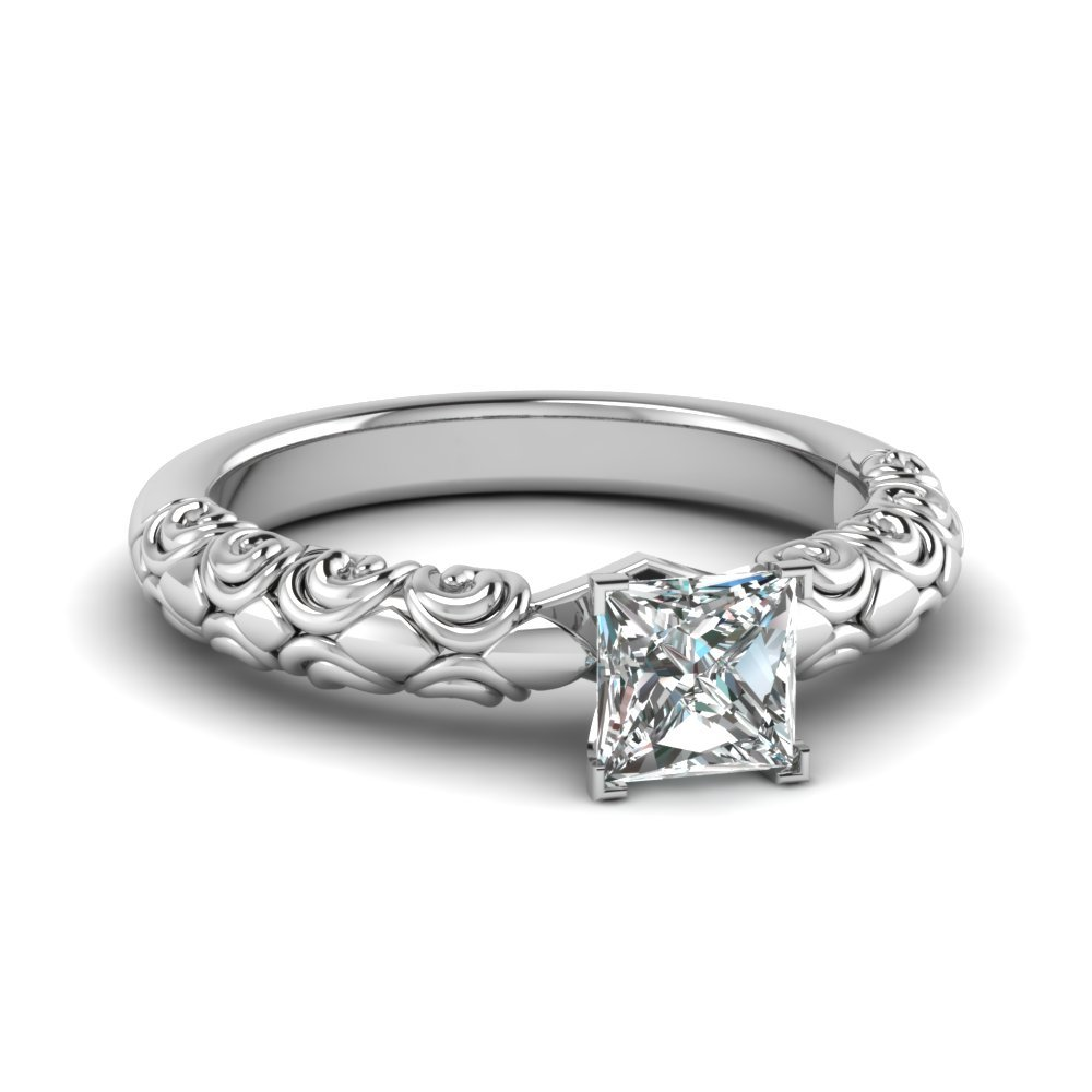 Princess Cut Diamond Filigree Accent Solitaire Engagement Ring In 14K White Gold