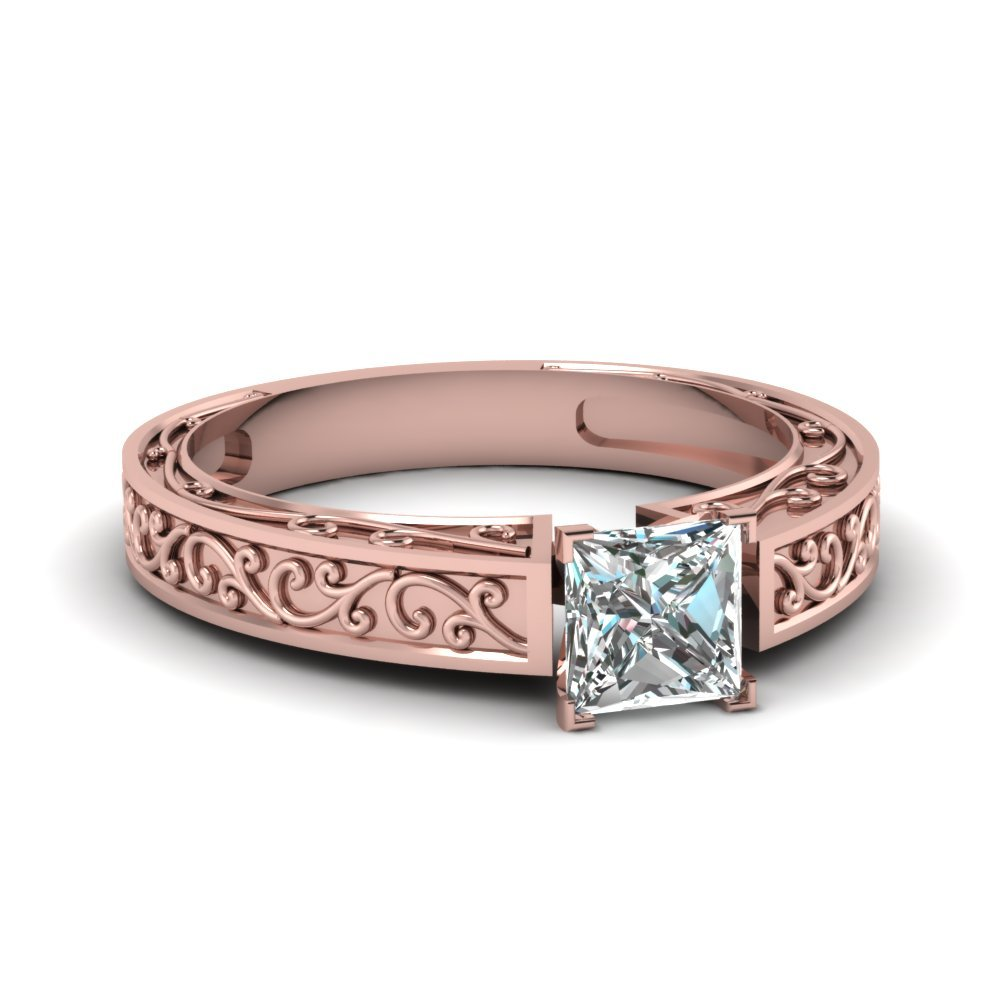 Filigree Design Princess Diamond Ring