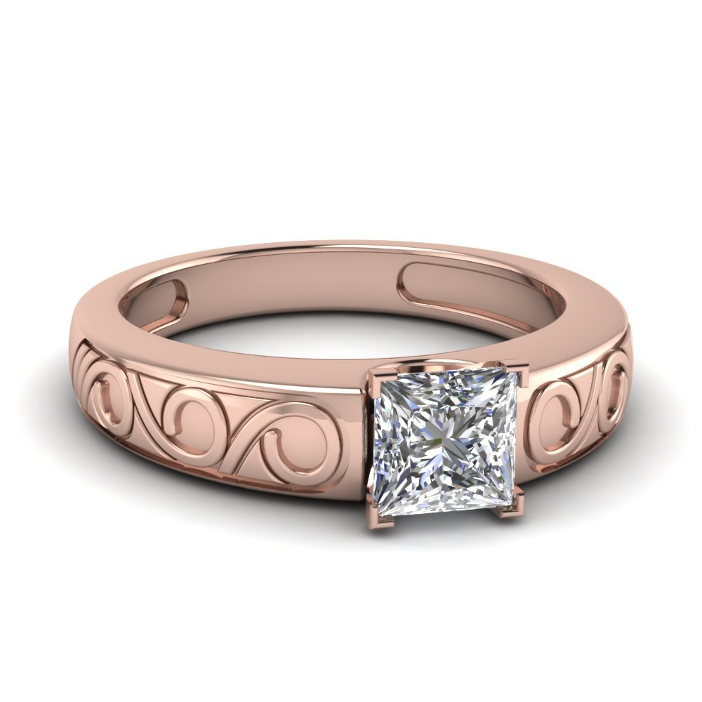 Princess Cut Filigree Solitaire Ring In 14K Rose Gold
