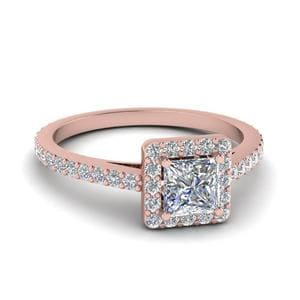 Floating Square Halo Diamond Ring