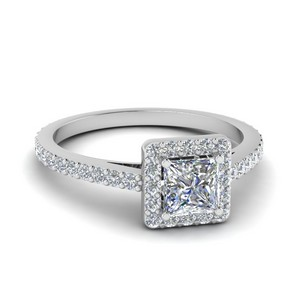 Princess Cut Diamond Floating Square Halo Engagement Ring In 14K White Gold