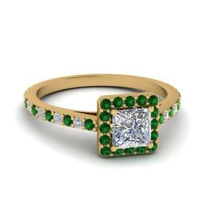 Floating Square Halo Emerald Ring