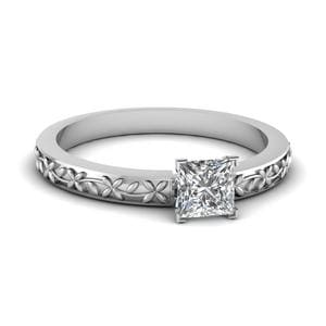 Floral Engraved Princess Cut Diamond Solitaire Ring In 950 Platinum