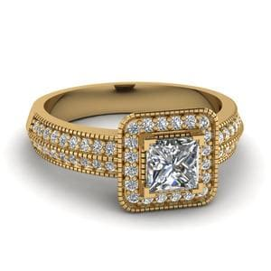 Square Vintage Halo Diamond Engagement Ring In 14K Yellow Gold