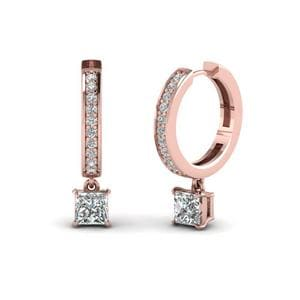 Drop Hoop Diamond Earring In 14K Rose Gol