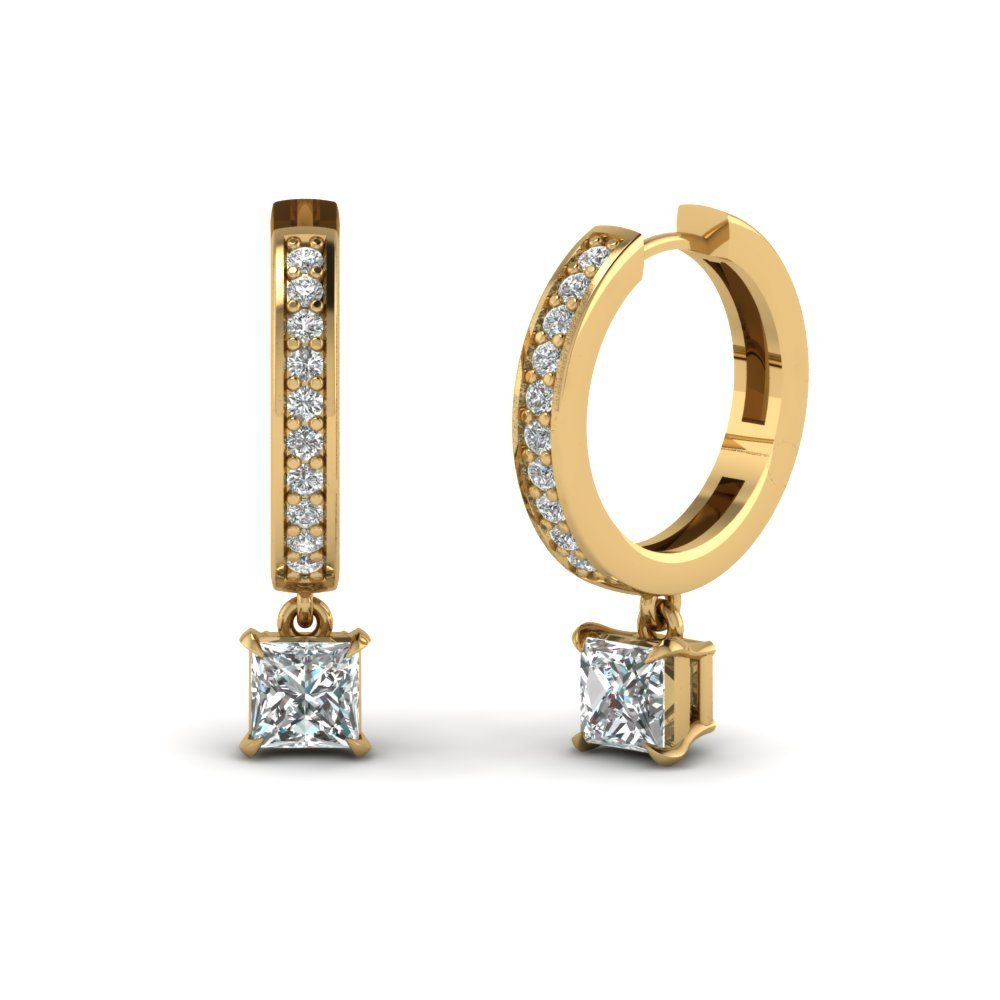 Princess Cut Drop Hoop Diamond Earring In 18K Yellow Gold