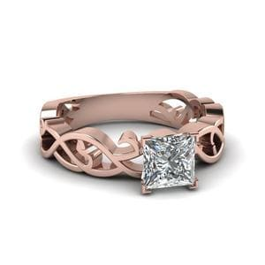 Intricate Princess Cut Diamond Solitaire Engagement Ring In 14K Rose Gold