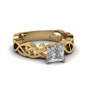 Intricate Princess Cut Diamond Solitaire Engagement Ring In 14K Yellow Gold